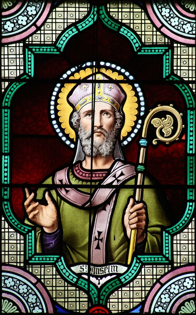St. Anselm image in stained glass.